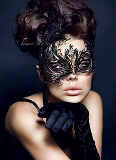 Best Seller - Classic Black Handcrafted Masquerade Mask Personalized with Diamonds - Holiday Costume, Little Black Dress Attire