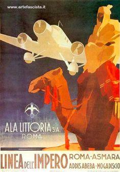 Vintage Travel Poster - Fascismo Architettura - Arte - ALA Littoria S.A. Roma http://www.artefascista.it/aviazione_fascismo__architettura__arte.htm