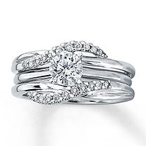solitaire engagement ring with enhancer as a wedding band so pretty - Wedding Ring Enhancers
