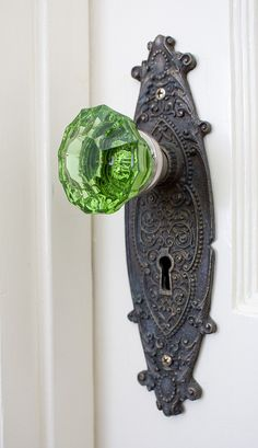 green glass doorknob.