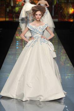 Blue and white porcelain themed wedding dress#wedding #dress