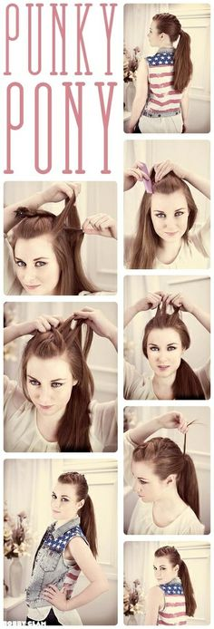 Punky Ponytail Hair Tutorial. Hairstyle.  -girl hair styles ...  -girl hair styles Hair Picture Tutor...  -girl hair styles