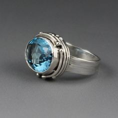 Faceted Swiss Blue Topaz Woodlands Kings by KBerlinMetalsmith, $183.00