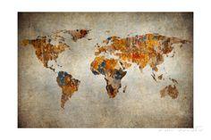 Grunge Karte von der Welt Kunstdruck
