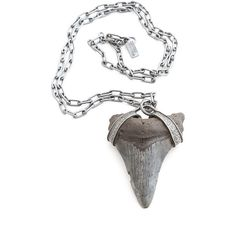 Jungle Tribe Fossilized Shark Tooth Necklace ($179) ❤ liked on Polyvore featuring jewelry, necklaces, shark tooth jewelry, tribal jewellery, tribe necklace, tribal necklaces and shark tooth necklace