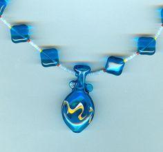 Vintage Japanese Lampwork Capri Blue Vessel Pendant Necklace
