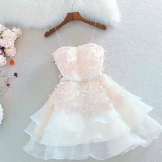 Champagne Homecoming Dresses, Short Homecoming Dresses, Short Cute Lace Homecoming Dresses For Girls, from Oktypes · HotProm · Online Store Powered by Storenvy Hoco Dresses, Dance Dresses, Evening Dresses, Girls Dresses, Formal Dresses, Dress Prom, Party Dress, Prom Gowns, Formal Prom