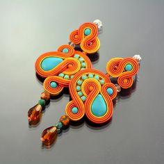 Long Turquoise Orange Dangle Earrings Long Dangle von OzdobyZiemi