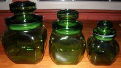 Vintage Green Glass Canister Set. $35.00, via Etsy.