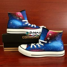 b92c6620ad Converse All Star Shoes Hand Painted Galaxy High Top Canvas Sneakers ...