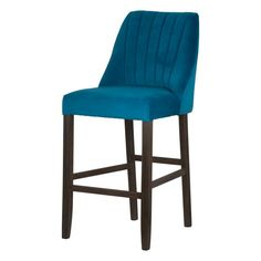 Teal Velvet Scalloped Back High Bar Stool  This Teal Velvet Scalloped Back High Bar Stool is designed in a popular style.  The scalloped back adds an element of class to this item while the teal velvet finish ensures it is luxurious and contemporary.  The bar stool design is ideal for a kitchen or bar space…