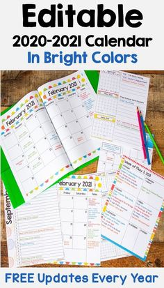 This 2020 – 2021 Editable Calendar template is printable and is perfect for teachers, students at school, or for kids. There are 6 different layouts with bright colors featuring weekly, monthly, and yearly layouts. The weekly layouts will make your life easier for your lesson plans. When you purchase this calendar you will also be able to download free updates every year.