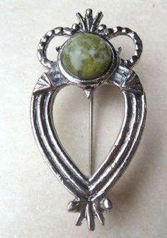 Scottish Celtic Style Long Luckenbooth Brooch Set With Green Marble.