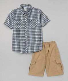 Loving this Green Gingham Button-Up & Shorts - Infant, Toddler & Boys on #zulily! #zulilyfinds