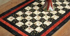 Patchwork Table Runner  Black Cream Cinnamon by RedNeedleQuilts