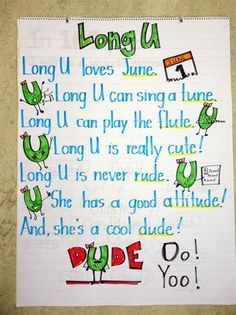 Long Vowel Poems and Anchor Charts!