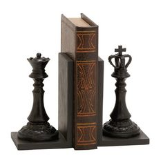 Chess piece bookends. Look what I found on Wayfair!