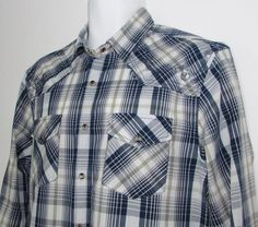 Men Guess Panama Western Plaid Shirt Pearl Snaps 100% Cotton sz Large NEW NWT #GUESS #Western