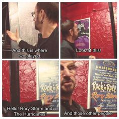 """Ringo with a Kaiserkeller poster for Rory Storm and the Hurricanes... """"and those other people"""""""