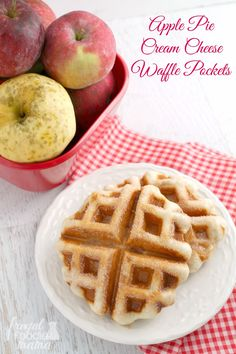 These quick and easy to make Apple Pie Cream Cheese Waffle Pockets are stuffed with cream cheese & your favorite apple pie filling. #warmtraditions #ad