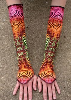 Space Tribe Fabric Blacklight Reactive Arm Warmers by ivysriver, $25.00