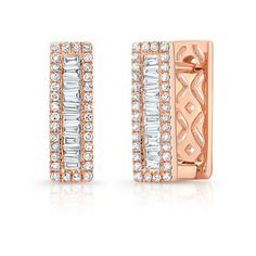 Anne Sisteron  14KT Rose Gold Baguette Diamond Rectangle Huggie Earrings featuring polyvore, women's fashion, jewelry, earrings, rose, baguette diamond earrings, diamond earring jewelry, baguette earrings, rose gold jewelry and diamond jewellery