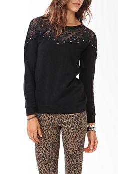 Studded Lace Sweatshirt | FOREVER21 - 2000049692