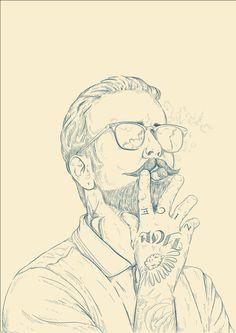 Movember illustration by William Stormdal, via Behance