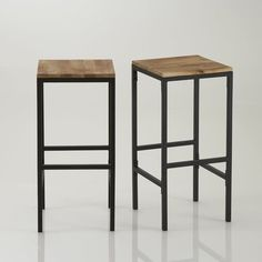 tabouret de bar en acier noir industry avec assise en bois prix ... - Chaise De Bar Tolix
