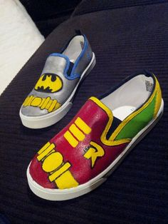 Batman and robin hand painted shoes