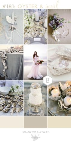 Neutral beach wedding inspiration. The delicate oyster and pearl hues work so well for a wedding, especially when mixed with greys and blushes