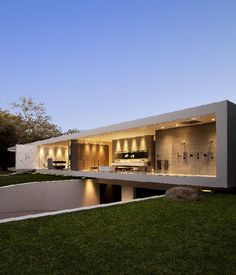Home Trends: transparent luxury house design with underground car garage - Picture on Home Design and Home Interior