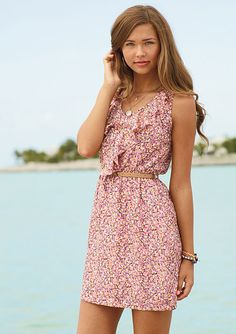 dELiAs > Ruffle Floral Belted Dress > dresses > casual