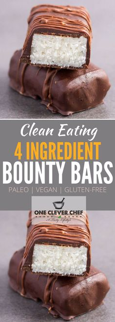 This is a copycat recipe of the good old bounty (or mound) bar! This homemade version of the classic is made with only 4 ingredients no-bake refined sugar-free low-carb and super healthy. Entirely Paleo Vegan and Gluten-free these simple and easy to Paleo Dessert, Healthy Dessert Recipes, Gluten Free Desserts, Gourmet Recipes, Vegan Recipes, Diet Recipes, Vegan Sweets, Healthy Sweets, Paleo Vegan