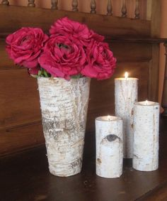 Birch Bark Vase  and  3 Birch Bark Candle Holders Wedding Home Decor  Bridal Shower