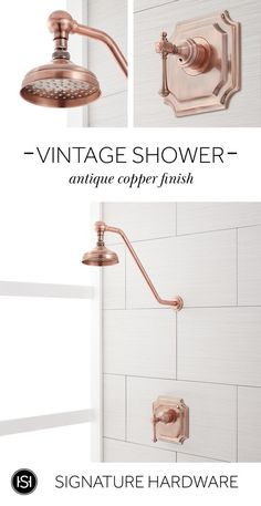 Our Vintage Shower Set is the perfect luxurious addition to any bathroom. The shower head and lever handle feature elegant details that give this product a timeless look. Shop from a variety of finishes including antique copper, brushed gold, brushed nick Dress Luxury, Bronze Huilé, Bathroom Renos, Master Bathrooms, Marble Bathrooms, Bathroom Stuff, Modern Bathrooms, Bathroom Layout, Bathroom Renovations