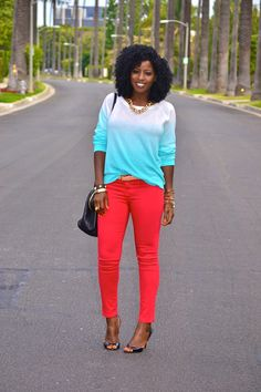 Ombre and a bold pant.