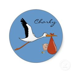 Happy Stork Baby Stickers