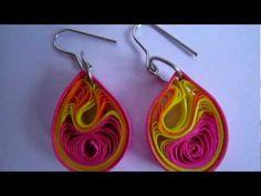 Handmade Jewelry - Paper Quilling Multicolor Teardrops Earrrings (Jaali Pattern 2)