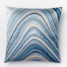 Marble Print Silk Pillow Cover - Dusty Blue - $20 + insert $12:  $32 (less 20% is $26) - Option 1 focal pillow for sofa