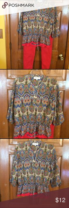 EUC, very cute color & design. EUC, very cute color & design. Few buttons in front, elastic in sleeves & waist, cute tie belt. Jones New York Tops Blouses