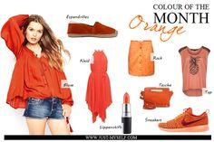 Colour of the month | Fashionblog | Justmyself | orange | bluse | blouse | suede skirt | rock mit knopfleiste | asymmetrisches Kleid | dress | lippenstift | lipstick | top mit ananas | sneakers Nike | Tasche | collage