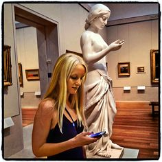 """""""A Texting Lesson"""" © Roger Minick 2012 Last summer in the American Wing of the Metropolitan Museum of Art"""