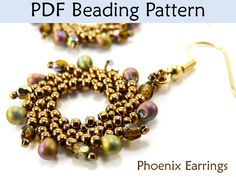 """Phoenix Earrings"" PDF Beading PatternThis simple beading pattern will easily teach you how to make these beautiful beaded ""Phoenix Earrings""! With over 30 high resolution full color pho.."