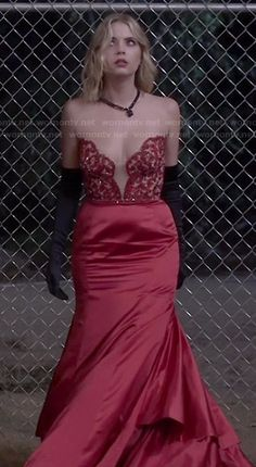 Hanna's red strapless prom dress on Pretty Little Liars.  Outfit Details: http://wornontv.net/47193/ #PLL