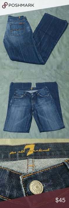 """7 For All Mankind Boot Cut Flare Jeans 7 For All Mankind boot cut flare denim jeans. Excellent condition. Size 25. Measurements: waist 13.5"""", rise 7.5"""", inseam 29"""", bottom cuff 9.5"""" 7 For All Mankind Jeans"""