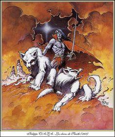 Caza, The Hounds of Skaith by Leigh Brackett Arte Sci Fi, Sci Fi Art, Illustrations, Illustration Art, Arte Heavy Metal, Sword And Sorcery, Science Fiction Art, Artist Gallery, Comic Artist