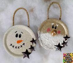 Christmas Ornaments Mason Jar Lids ~ Wreath mason jar lid christmas ornaments by knotalways on etsy. Fun and easy to make mason jar lid christmas ornaments. Jar Lid Crafts, Mason Jar Crafts, Mason Jar Diy, Diy Crafts, Beaded Crafts, Christmas Mason Jars, Diy Christmas Ornaments, Christmas Fun, Snowman Ornaments