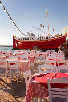 Taverna on the Greek island of Mykonos