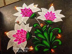 #flowers#kolam#rangoli#pink#white#green#lace#net Rangoli Patterns, Rangoli Ideas, Rangoli Designs Diwali, Rangoli Designs Images, Kolam Rangoli, Flower Rangoli, Beautiful Rangoli Designs, Flower Tattoo Drawings, Flower Tattoo Designs